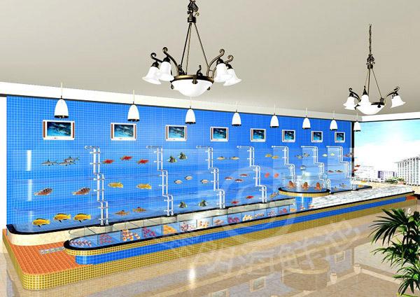 海鲜池效果图,海鲜池制作图纸,酒店海鲜池设计制作效果图